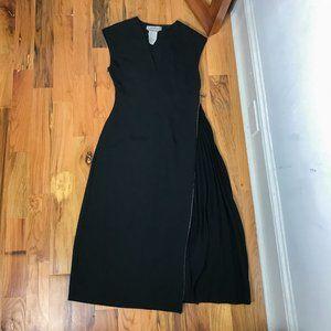 SPORTMAX Max Mara Black Accordian Pleat Maxi Dress